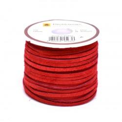 Кожена лента велур 3х2 мм - червена