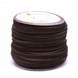 Кожена лента велур 3х2 мм - т.кафява