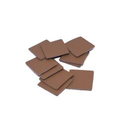 Кожени форми квадрат - светло кавяф 10 бр./ 30/30 мм