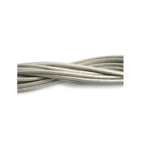 Метализирана естествена кожена връв корда шнур 2 мм, Перла